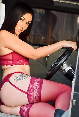Stunning Brunette Ashley In Red Stockings And Lingerie
